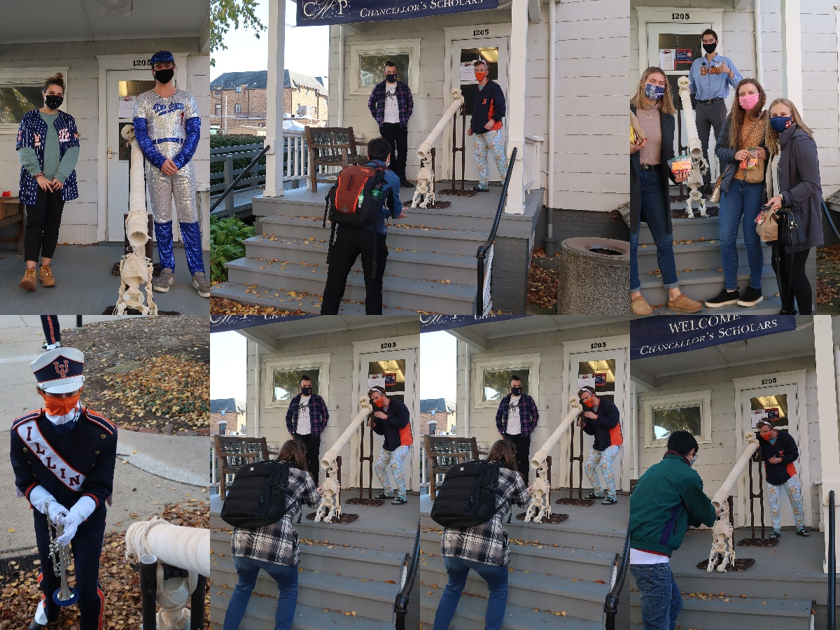 Collage of several people wearing various Halloween costumes
