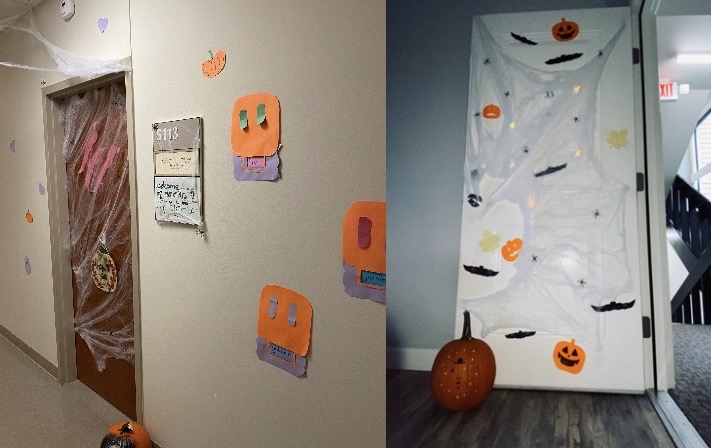 Collage of doors decorated with fake spider webs and other Halloween decorations.