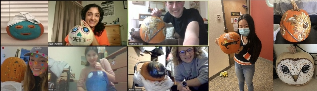 Zoom call collage of people showcasing painted pumpkins