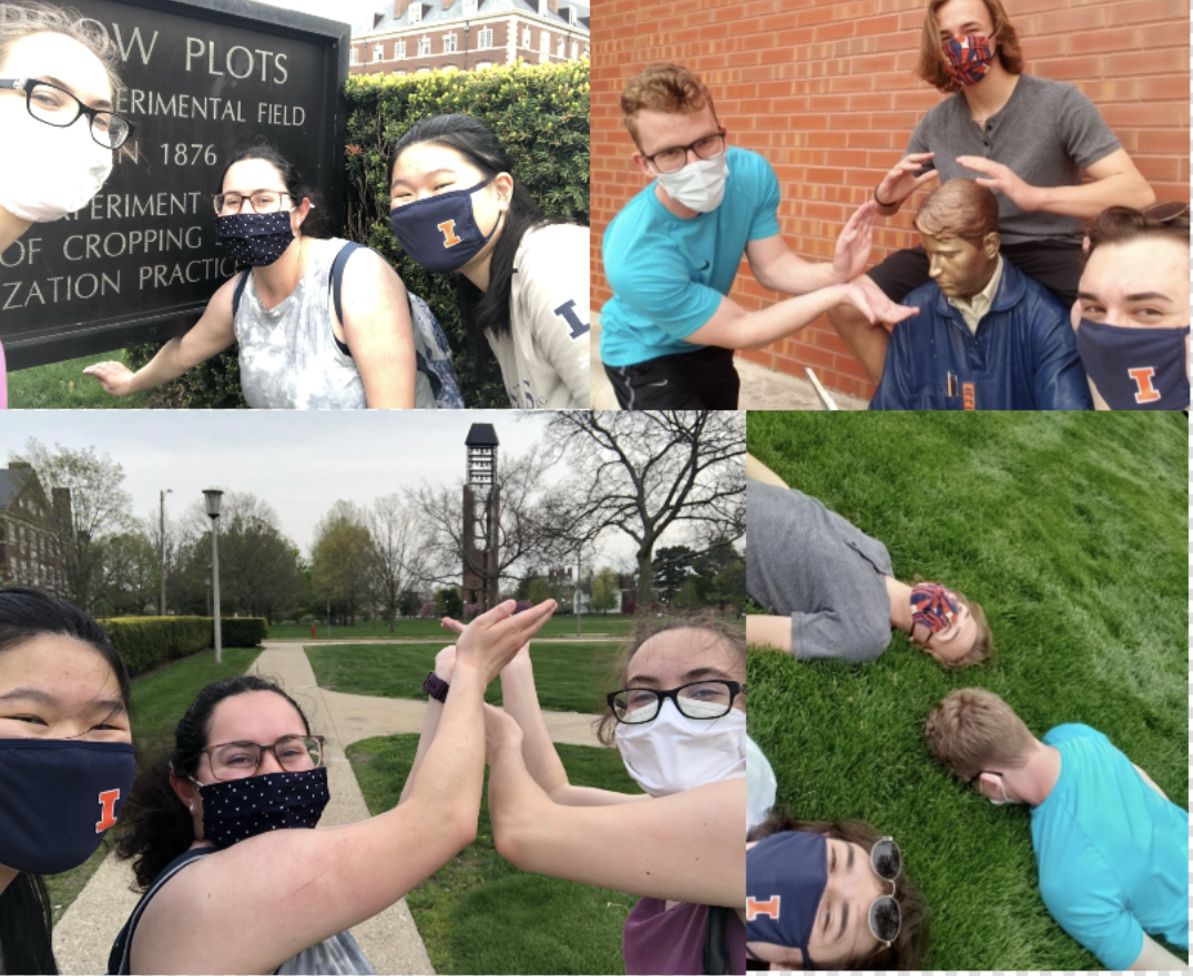 Collage of groups of people posing at University of Illinois landmarks.